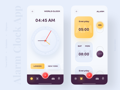 Alarm Clock App time dribbble best shot popular app 3d colourful clean alarm clock app clock 2019 trend trendy minimal trend uiux app design uidesign ui design ux