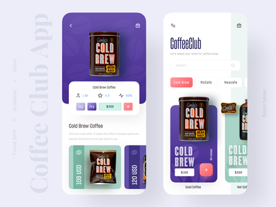Coffee Club App clean ui colourful productdesigner uxdesigner uidesigner coldbrew coffee popular trending application 2019 trend trendy minimal trend uiux app design uidesign ui design ux