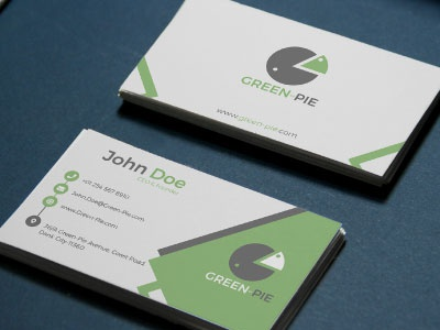 Corporate Business Card Design for CEO of Green-Pie Grocery Shop