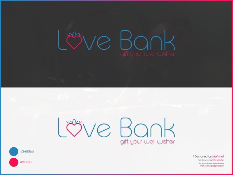 Love Bank - Gift Shop Logo Design graphic design branding logo design logo illustration design vector brand identity icon app web logodesign graphic  design graphicdesign