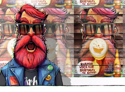 Character for the Serramalte Advertising archive beard beer advertising