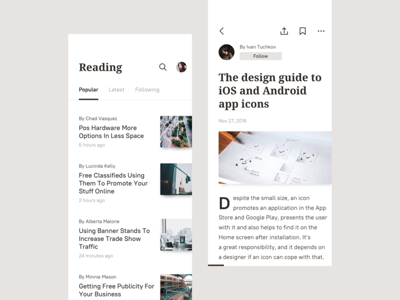 Reading app by Ivan Tuchkov on Dribbble