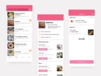 Food app screens