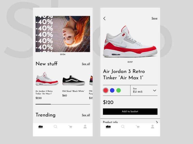 Sneakers shop app slider sale banner mobile brutalist brutalism list cards basket interface application sneaker shop concept