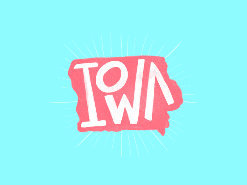Iowa usa midwest pink blue typography procreate states lettering iowa