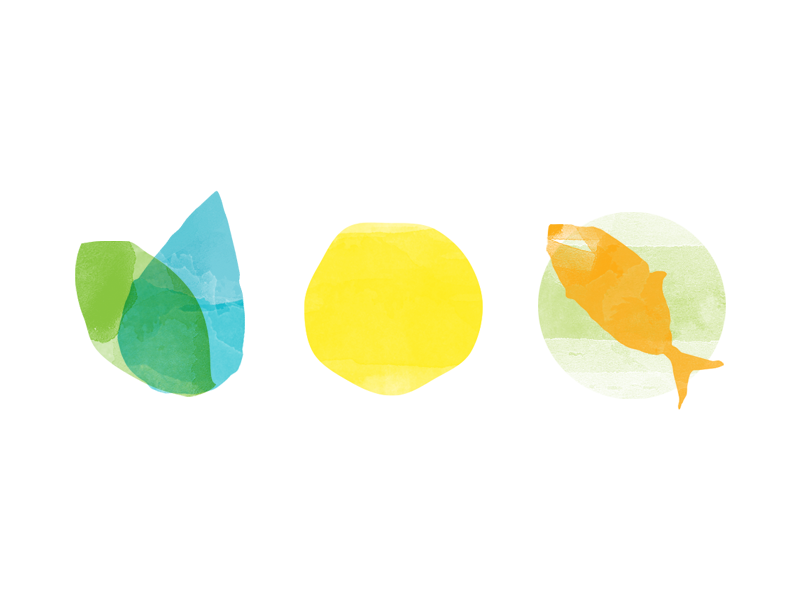 Watercolor Icons icons watercolor summer fish leaf water sun