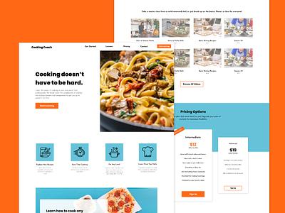 Cooking Coach- Website Mockup Design screengrab branding website layout ui ux design