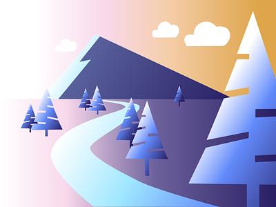 Mountain Sunrise vector illustration design