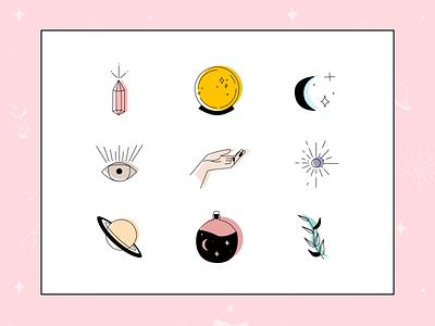 Spiritual Icon Set vector logo branding design illustration icons tarot witchy magic magical