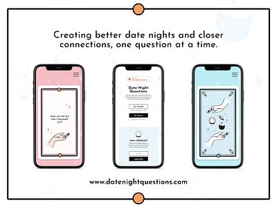 Date Night Questions website app mobile illustration ui layout branding design