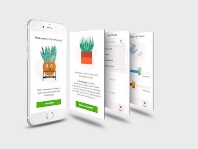 PlantHappy Mobile Design screengrab ui happy ux mobile plants