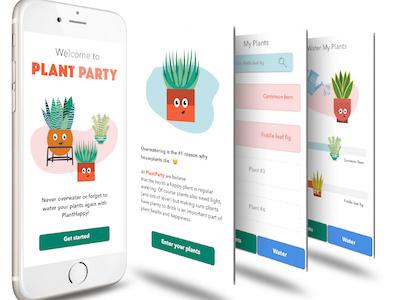 PlantParty App Design app party screengrab ui happy ux mobile plants