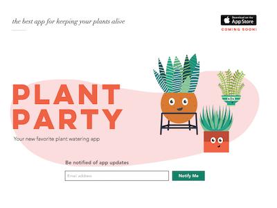 PlantParty Web Design app party screengrab ui happy ux mobile plants
