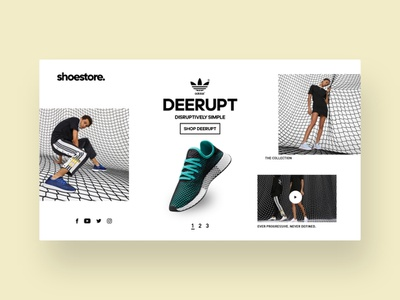 Adidas Deerupt design video new social media icons social media website social shoe shop webdesign design shoes instagram dribbble ui  ux design ui uix ux design deerupt adidas originals adidas