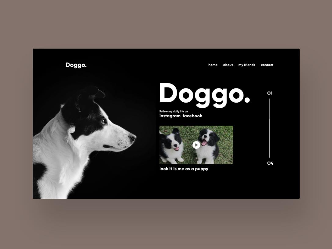 Doggo Concept Design menu infinite social uiuxdesign uidesign dogs information inspiration uixdesign uiux designinspiration ux ui design pet doggo dog