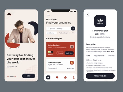Job Finder Apps website userexperience figma interface webdeveloper userinterface css dribbble appdesign html uxswipe interfacely webdesign ux graphic design ui app