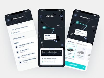 Ride Share App UI Concept ui taxi cab minimal design modern design delivery product design ride sharing uiux uberapp tracking app uber ride sharing  app design appdesign 3d ux app
