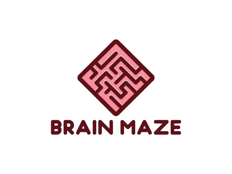 Brain Maze vector flat maze brain logo