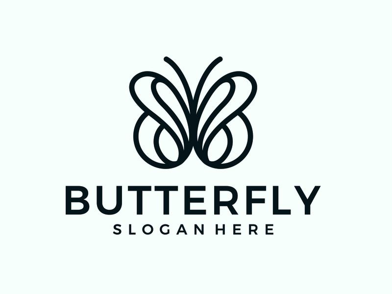 butterfly line line logoinspiration simple vektor logo logo design desain branding