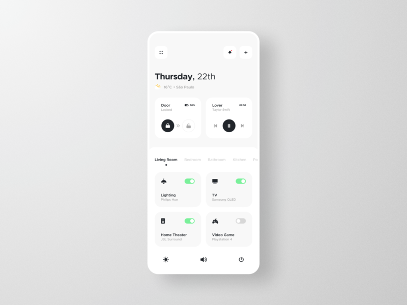 Smart Home App temperature smart lock music player player switch toggle card automation ios white clean ux ui mobile dashboard design system app smart home home smart