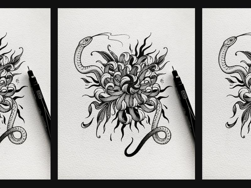 Snake & Chrysanthemum