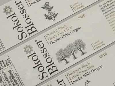 Sokol Blosser Wine Label Illustrations