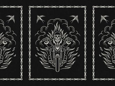 Skeleton Biker illustrations swallows poster designer poster design vector illustration vectorart monoline linework drawing motorcycle art motorcycle skull illustrator illustration