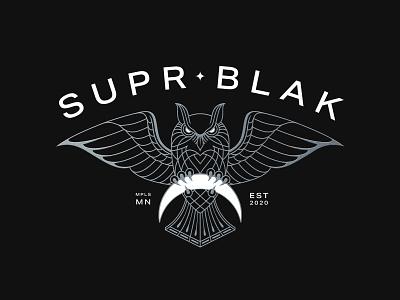 SUPR BLAK monoline logo music identity graphic design logo design logomark owl logo owl monoline branding logo linework illustration