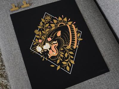 Inner Wild - Screen Print illustrator tattoo tattoo art drawing illustration linework panther screenprints screenprinting poster art art print poster screenprint