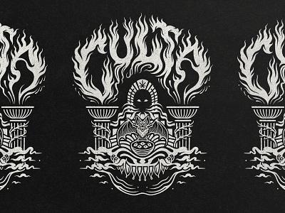 CULTA - Halloween Design shirt design apparel graphics apparel design cannabis branding cannabis handlettering lettering bat halloween design halloween procreate graphic design linework illustrator illustration