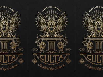 CULTA - Harvested by Hand, Crafted by Culture lettering type typography badge design badge appareldesign cannabis design cannabis monoline gold logo graphic design drawing illustrator linework icon design icon illustration