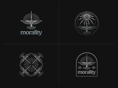 Morality logo lockup logoset clothing brand identitydesign brand identity logos hummingbird badge logo badge design badge logomark logo design branding logo illustrator linework illustration