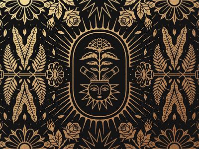 Adobe Tutorial pattern adobe tutorial gold pattern design botanical pattern botanical icon design icon logo design brand vector design branding logo graphic design illustrator linework illustration