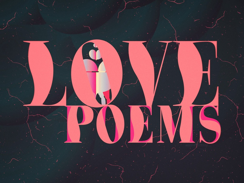 Love Poems editorial book illustration bauhaus typography adobe illustrator poster graphic design vector retro color wflemming illustration