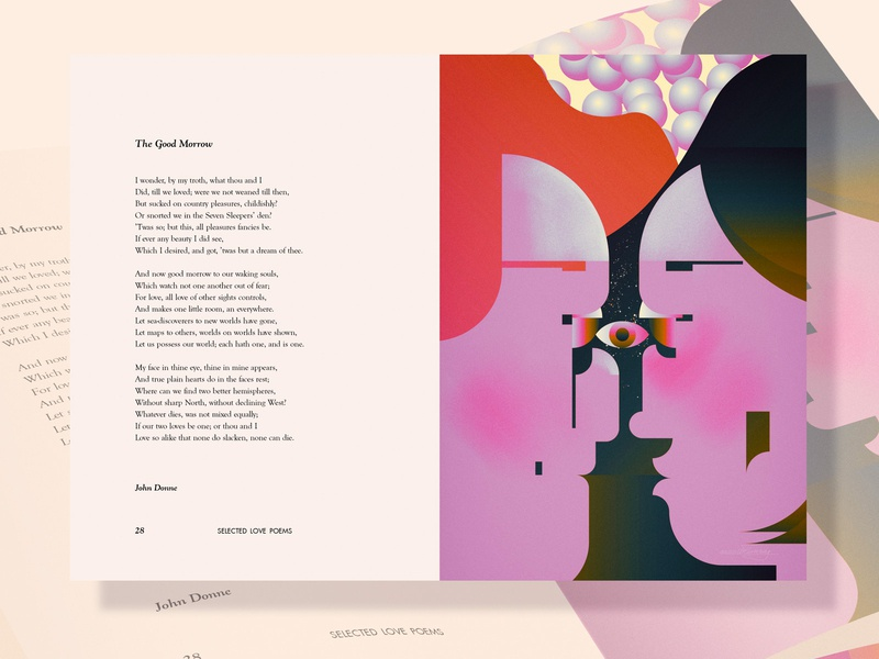 The Good Morrow - love poems illustrated love poems illustrated bauhaus portrait graphic design geometric people poster vector digital color retro wflemming illustration