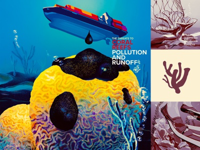 Saving Coral - what endangers corals 1 educational resources coral reefs pollution oceans ecoawareness climate change digital color retro wflemming illustration