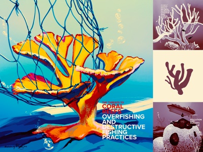 Saving Coral - what endangers corals 2 editorial education coral reefs ocean climate change ecoawareness digital color retro wflemming illustration