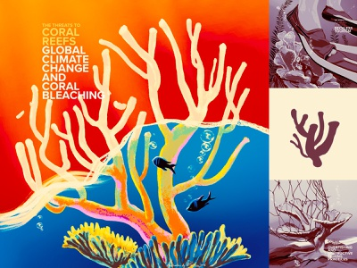 Saving Coral - coral bleaching editorial educational resources oceans ecoawareness coral reef climate change climatechange digital retro color wflemming illustration