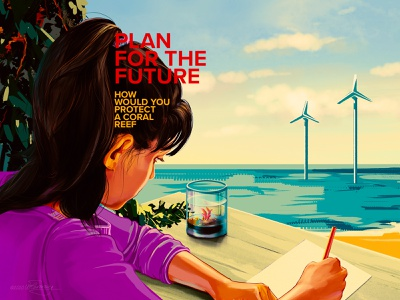 Plan for the future - saving coral reefs sea ocean poster ecological coral reefs nursery educational illustration editorial art ecoawareness climate change climatechange editorial retro digital color wflemming illustration