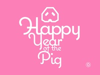 Happy Year Of The Pig retro poster