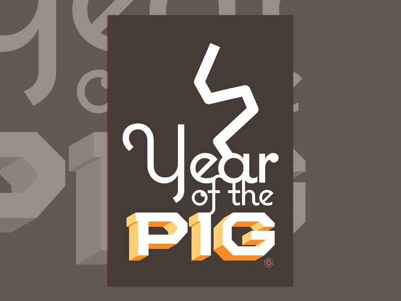 Year of the Earth Pig - posters typography adobe illustrator graphic design color poster vector digital wflemming retro illustration
