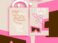 Happy Year Of The Pig in pink