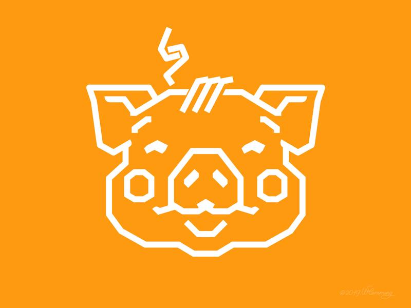 Earth Piglet illustrator piglet logo design adobe illustrator graphic design geometric vector digital wflemming retro illustration