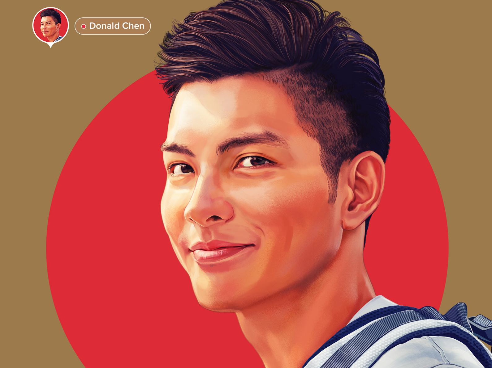 Portraits for onborading screens - Donald Chen illustrator app illustration ui digital color wflemming faces people illustration