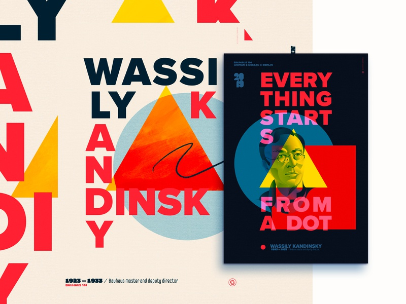 Wassily Kandinsky poster poster bauhaus100 kandinsky bauhaus adobe illustrator portrait graphic design geometric people wflemming vector color illustration