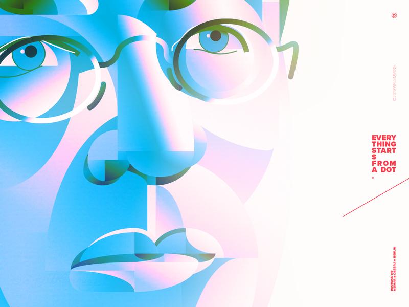 Wassily Kandinsky portrait - detail bauhaus100 ui faces portrait geometric poster people vector digital color wflemming illustration