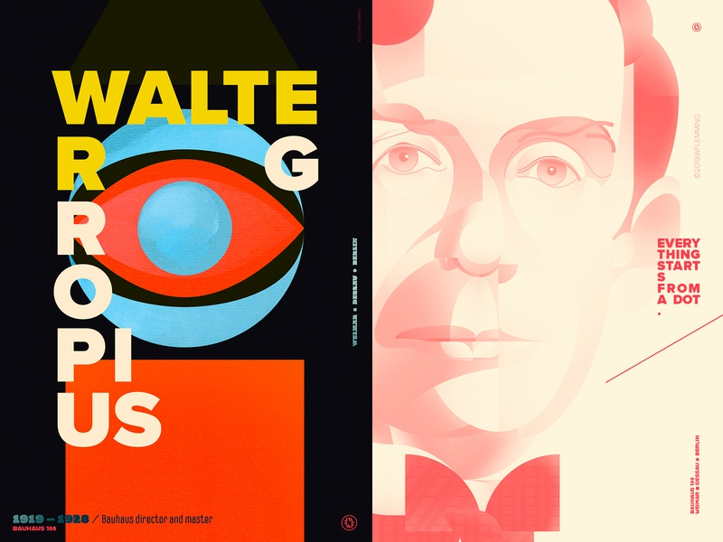 Everything starts from a dot - Walter Gropius bauhaus100 bauhaus portrait graphic design geometric poster people vector digital color wflemming illustration