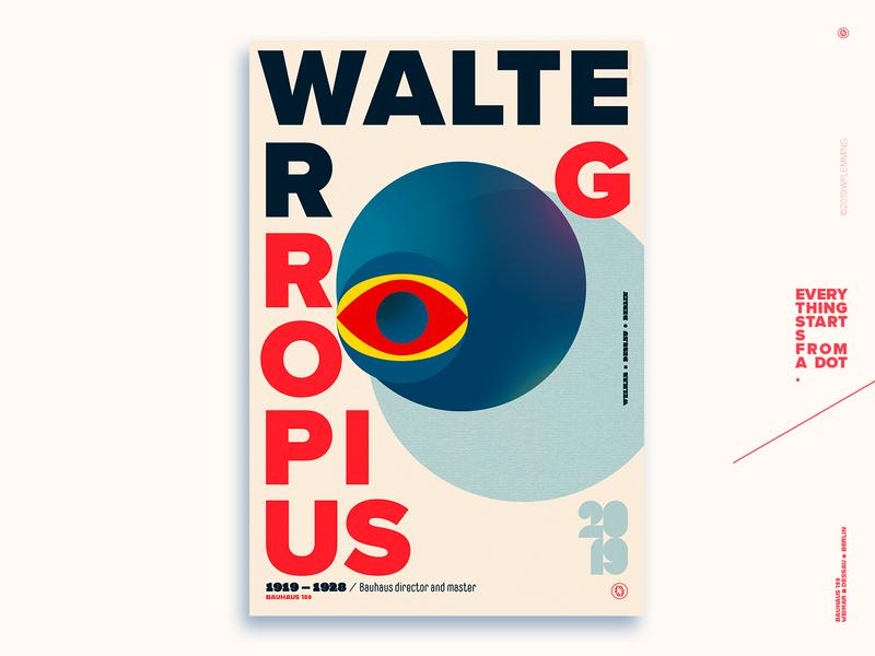 Walter Gropius - Celebrating Bauhaus 100 years bauhaus100 typography ui graphic design geometric poster vector digital color wflemming illustration