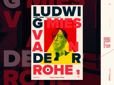 Celebrating Bauhaus100 - Ludwig Mies Van Der Rohe poster poster editorial architect bauhaus100 bauhaus portrait graphic design geometric people vector digital color wflemming illustration
