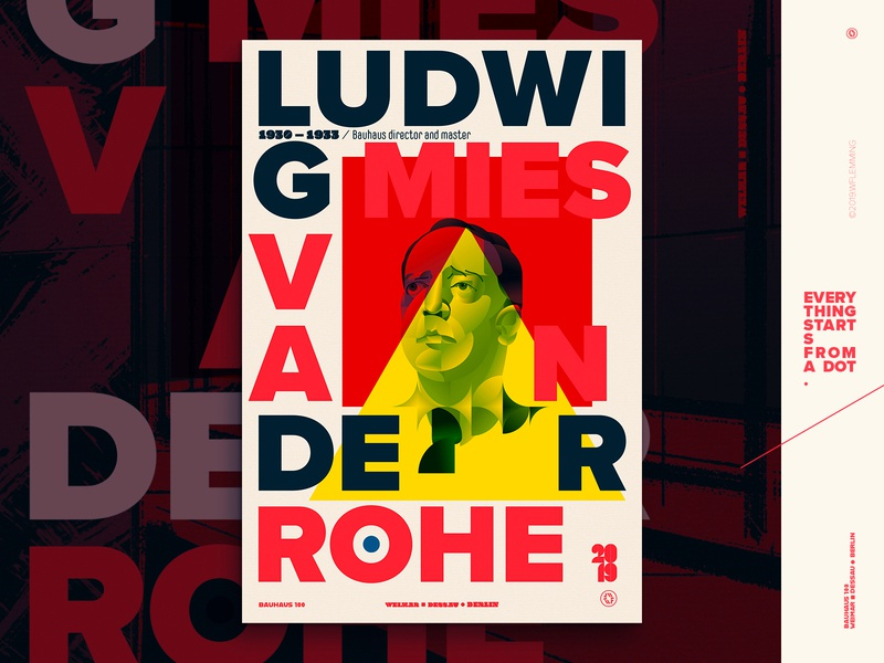 Celebrating Bauhaus100 - Ludwig Mies Van Der Rohe poster poster editorial architect bauhaus100 bauhaus portrait graphic design geometric people vector digital color wflemming illustration